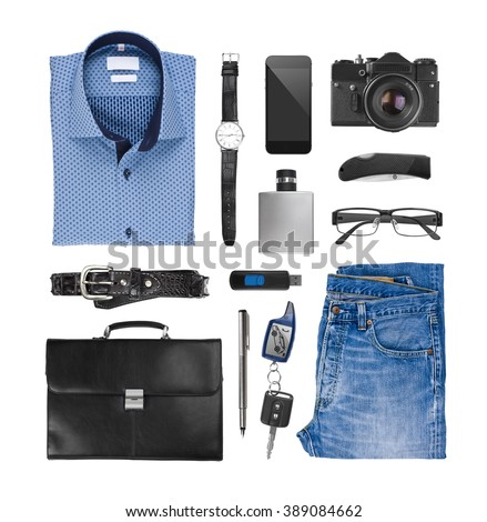Collage of male clothes and assessories isolated on white background - stock photo