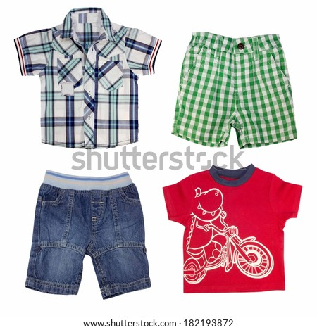 Collage of male kid clothing. Boy clothes isolated on white. - stock photo