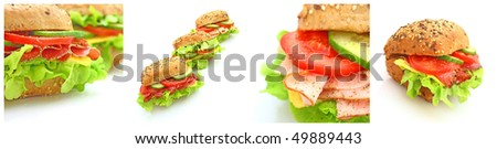 Collage of many different fresh sandwiches with cheese or ham - stock photo