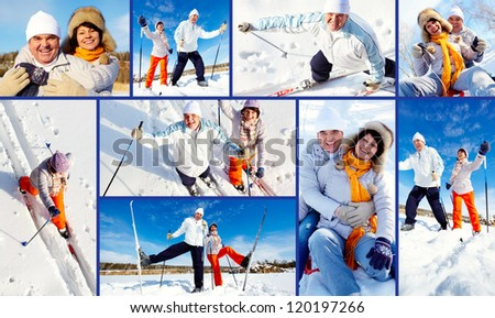 Collage of mature couple enjoying winter outside - stock photo