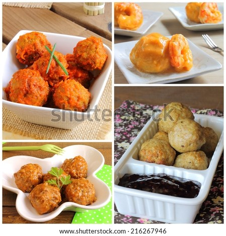 Collage of meatballs recipes - stock photo
