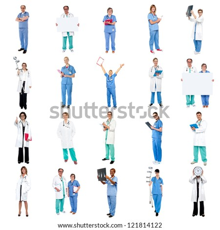 Collage of medical specialists over white background. - stock photo