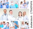 Collage of medical staff in working environment - stock photo