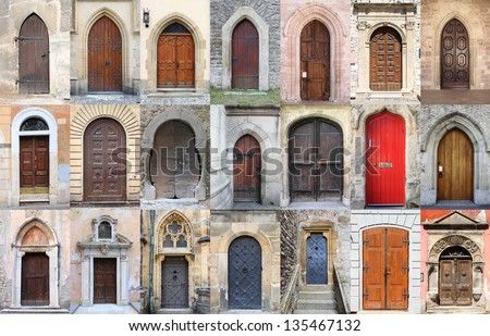 Collage of medieval front doors - stock photo