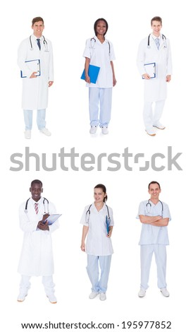 Collage of multiethnic doctors standing against white background - stock photo
