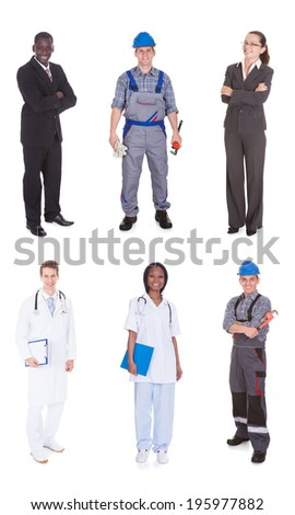 Collage of multiethnic people with diverse occupations standing against white background - stock photo