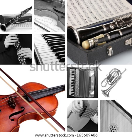 Collage of musical instruments - stock photo