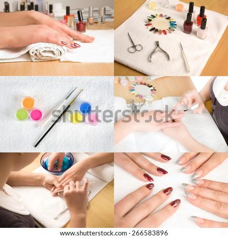 Collage of nail studio - stock photo