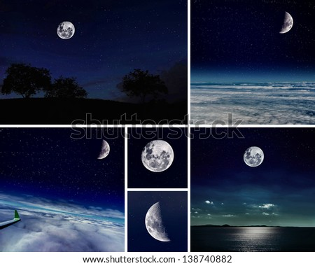 Collage of Night scenes. Moon collection - stock photo