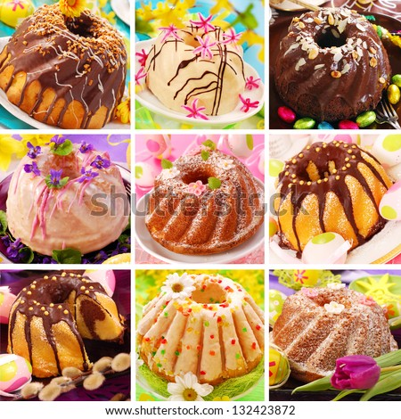collage of nine various easter ring cakes collection - stock photo