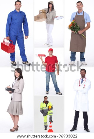 Collage of occupations - stock photo