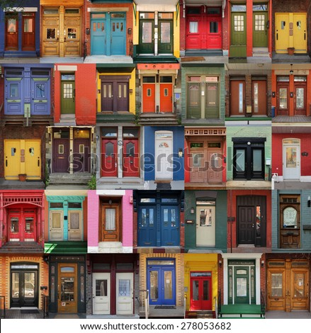 Collage of old and colorful doors from Montreal, Canada - stock photo