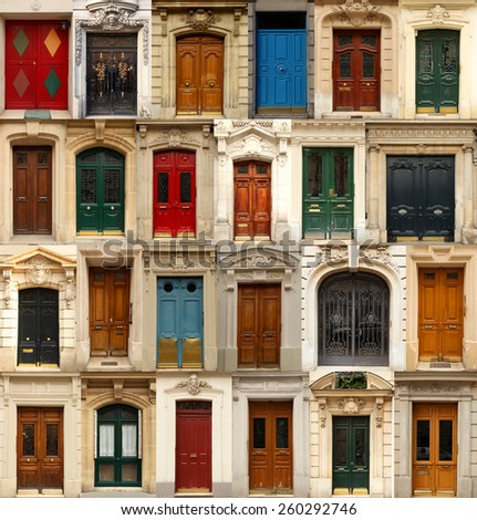Collage of old and colorful doors from Paris, France. - stock photo
