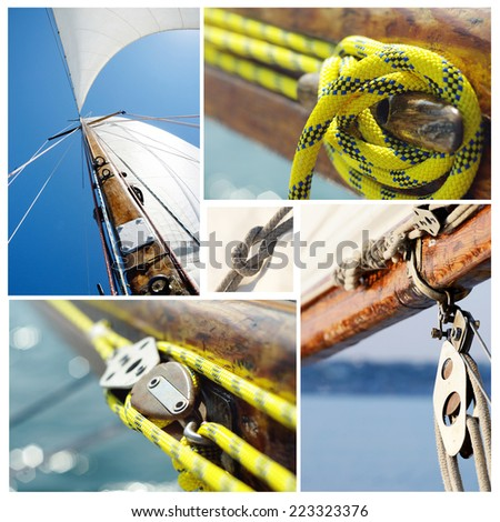 Collage of old sailing boat equipment - vintage wooden mast,sails, ropes, knots,snatch cleats and pulley blocks - stock photo