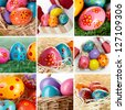 Collage of painted Easter eggs in different compositions - stock photo