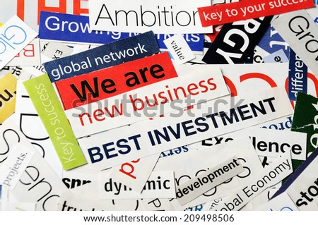 collage of paper headlines -we are new business - stock photo