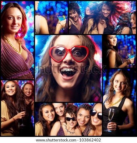 Collage of partying girls having fun in night club - stock photo