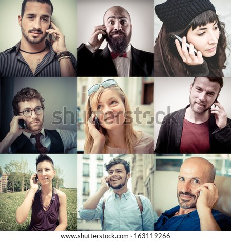 collage of people calling on the phone - stock photo