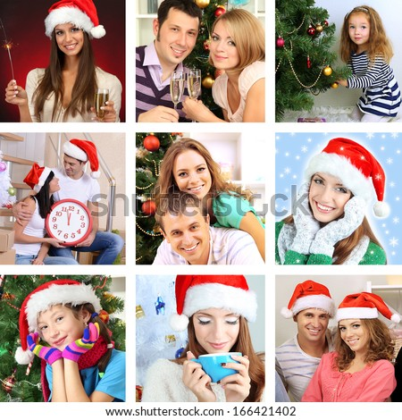 Collage of people celebrating Christmas at home