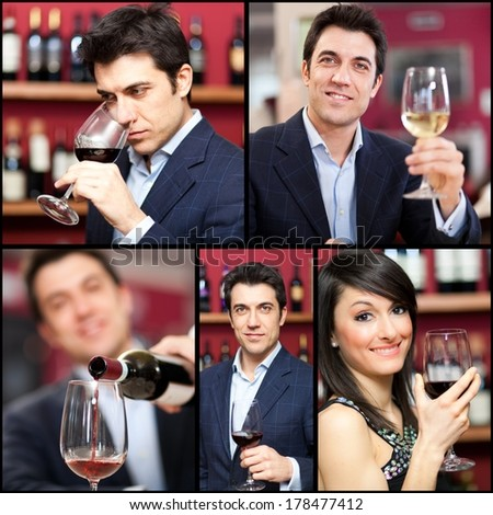 Collage of people holding wine glasses - stock photo