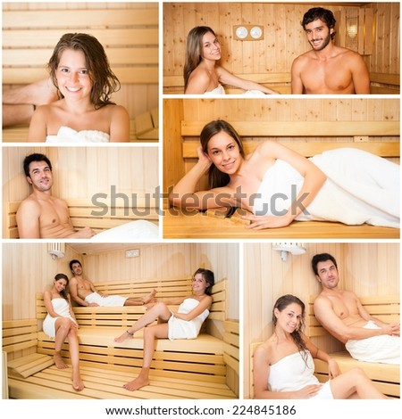 Collage of people relaxing in a sauna - stock photo