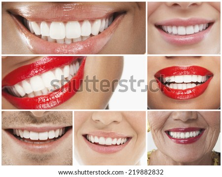 Collage of people smiling - stock photo