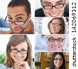 Collage of people wearing reading glasses - stock photo
