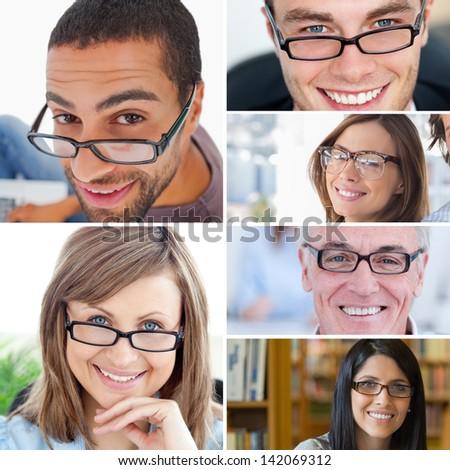 Collage of people wearing reading glasses