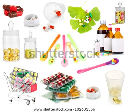Collage of pharmaceutical products isolated on white - stock photo