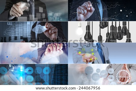 Collage of photo business strategy as concept  - stock photo