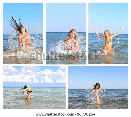 Collage of photo pretty white woman sunning on the beach and on the sea - stock photo