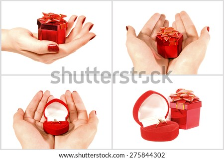Collage of photo, red Box with a jewel gift in female hand on a white background - stock photo