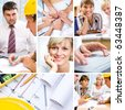 collage of photographs on the subject of a successful business, constructor, teamwork - stock photo