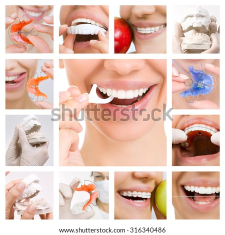 Collage of Photographs on the Theme of Dental Care and Healthy Teeth (Dental Services) - stock photo