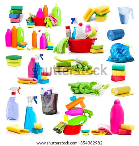 Collage of photos detergent and cleaning supplies isolated on a white background