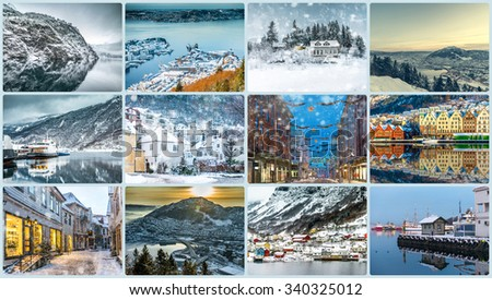 Collage of photos from Bergen, Norway - stock photo