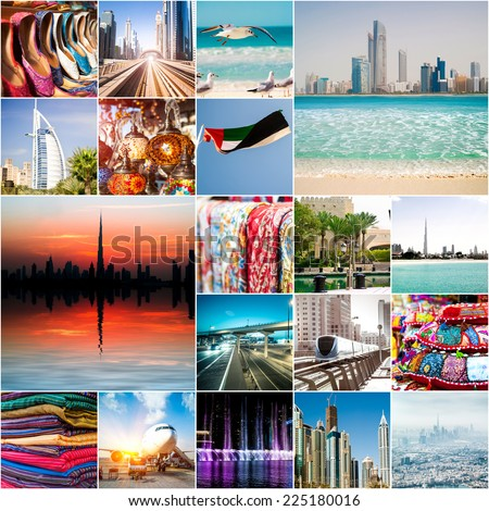 Collage of photos from Dubai. UAE - stock photo