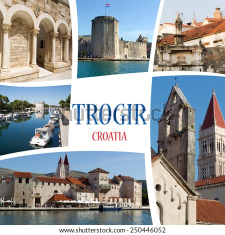 Collage of photos from Trogir. Croatia - stock photo