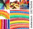 Collage of photos in rainbow colors - stock photo