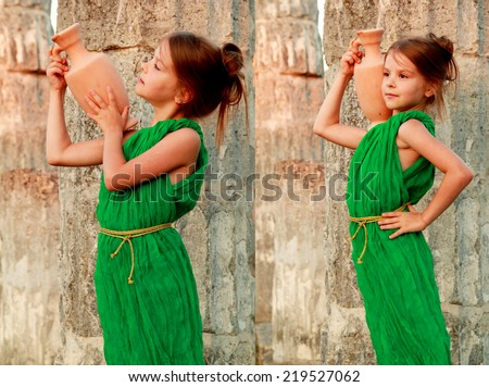 Collage of photos of beautiful young Greek goddess in emerald green vintage dress/ Set of images of little girl holding of an ancient amphora on the background of the ruins of the ancient city - stock photo