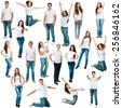 Collage of photos of men and women in jeans and T-shirts on a white background - stock photo