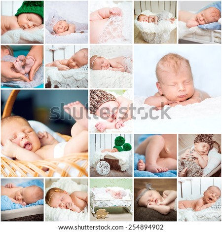 Collage of photos of sleeping babies in a variety of interesting positions - stock photo