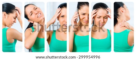 collage of photos of the girl suffering from a headache - stock photo