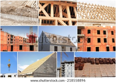 collage of photos of the industry of construction and building - stock photo