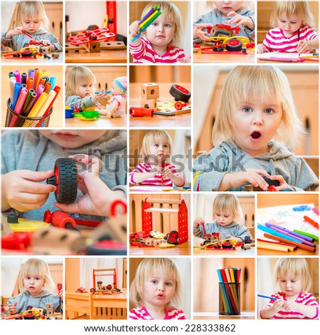 collage of photos of the little girl in the nursery - stock photo
