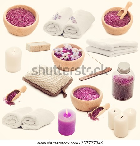 Collage of photos Spa elements - candles, flowers, towel and natural soap on a white background - stock photo