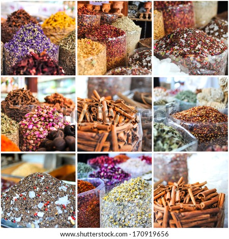 collage of photos taken on the spices market in Dubai, UAE - stock photo