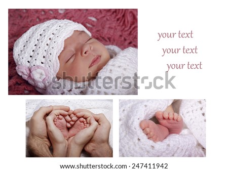 Collage of photos with a sleeping newborn, hands and feet close-up, care, affection, care, parental love - stock photo