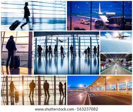 Collage of photos with airport in Beijing - stock photo