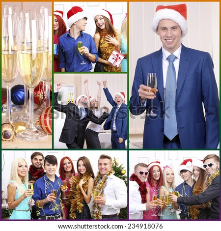 Collage of photos with Christmas celebration in office - stock photo